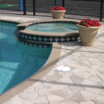 Brick Paver Spa and Pool Deck